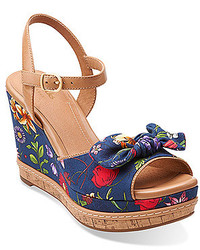 Navy Print Canvas Wedge Sandals