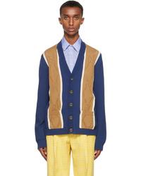 Gucci Blue Beige Gg Stitch Cardigan