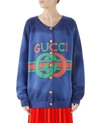 Gucci Logo Cotton Jersey Cardigan