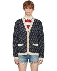 Gucci Navy Off White Gg Jacquard Cardigan