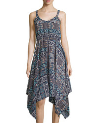 Casual Couture Sleeveless Tribal Print Dress Navycream