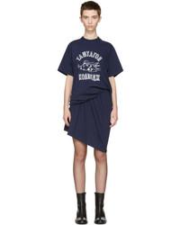 Junya Watanabe Navy Ruched T Shirt Dress