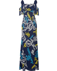 Canasta cold shoulder printed swiss dot chiffon gown navy medium 3731709