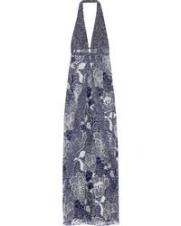 Fantasia printed silk chiffon gown navy medium 625692