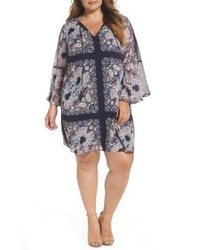 Plus size print chiffon bell sleeve shift dress medium 5256034