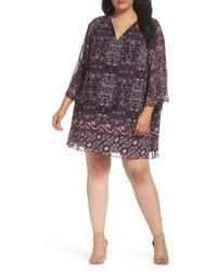 Plus size print chiffon shift dress medium 3992585