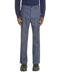 Versace La Greca Monogram Jacquard Wool Blend Suit Pants