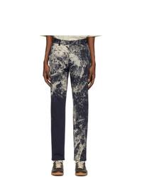 Maison Margiela Navy Paint Splatter Trousers