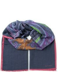 Navy Print Cotton Scarf