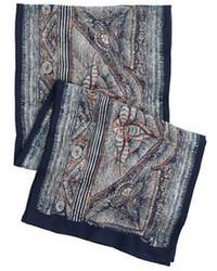 Wool silk scarf in woodblock print medium 74734