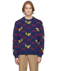 Gucci Blue Freya Hartas Edition Gg Animal Sweater