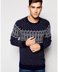 Esprit Crew Neck Wool Mix Printed Sweater