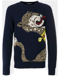 Intarsia panther knit jumper medium 5144430
