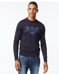 Armani Jeans Logo Graphic Long Sleeve Sweater