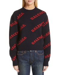 Balenciaga Logo Jacquard Wool Blend Crop Sweater