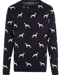 River Island Navy Dog Print Sweater