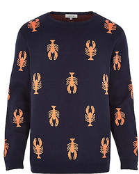 River Island Navy Lobster Print Sweater