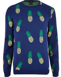 River Island Navy Pineapple Print Sweater