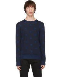 Alexander McQueen Navy Wool Skull Sweater