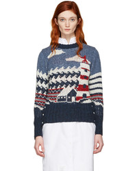 Thom Browne Tricolor Crewneck Graphic Sweater