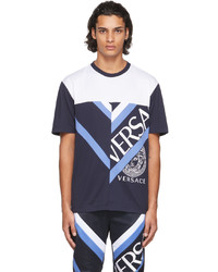 Versace Blue White Colorblock T Shirt