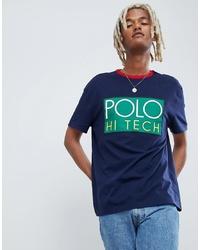 64ad4106 Polo Ralph Lauren Hi Tech Capsule Box Logo T Shirt Ringer Neck In Navy