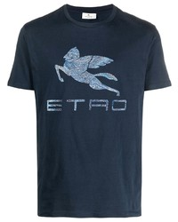 Etro Jacquard Logo Cotton T Shirt