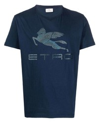 Etro Logo Print Cotton T Shirt