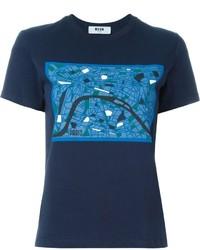 MSGM Paris Map Print T Shirt