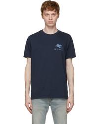Etro Navy Logo Regular T Shirt