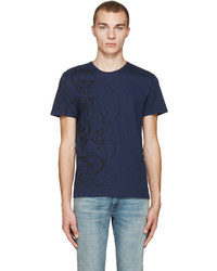 Alexander McQueen Navy Skulls And Lines T Shirt
