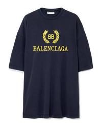 Balenciaga Oversized Printed Cotton Jersey T Shirt
