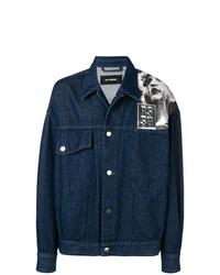 Navy Print Denim Jacket
