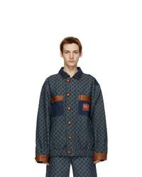 Navy Print Denim Shirt Jacket