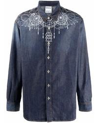 Marcelo Burlon County of Milan Astral Wings Midwash Ls Shirt Blue White