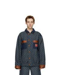 Gucci Navy Denim Gg Jacket