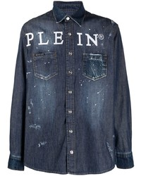 Philipp Plein Logo Button Down Denim Shirt