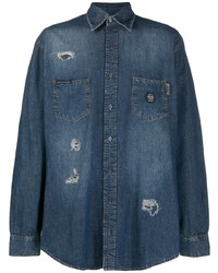 Philipp Plein Skull Print Distressed Denim Shirt