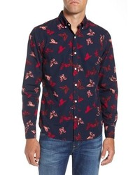 Bonobos Slim Fit Washed Butterfly Print Sport Shirt