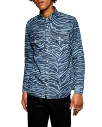 Topman Tiger Stripe Print Denim Shirt
