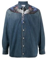 Marcelo Burlon County of Milan Wings Long Sleeve Denim Shirt