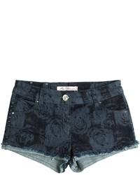 Miss Blumarine Roses Printed Stretch Denim Shorts