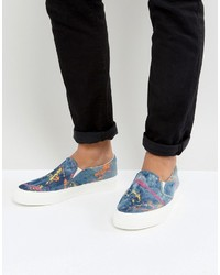 Asos Slip On Sneakers In Denim With Splatter Print