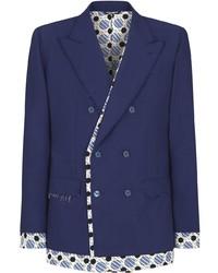 Dolce & Gabbana Tie Print Trim Double Breasted Blazer