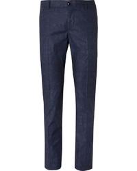 Blue slim fit damask printed stretch cotton suit trousers medium 3690640