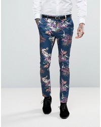 Super skinny suit pants in blue tropical floral print in sateen medium 3757242