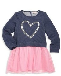 Design History Toddlers Little Girls Heart Graphic Fit  Flare Dress