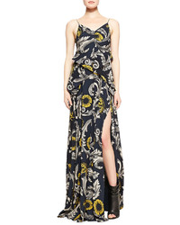 e3764b572c8c ... Burberry Prorsum Scroll And Floral Printed Evening Gown Midnight Blue