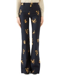 Gucci Camellia Fil Coupe Cotton Wool Flare Pants