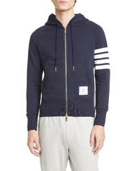 Thom Browne Classic Stripe Sleeve Full Zip Hoodie